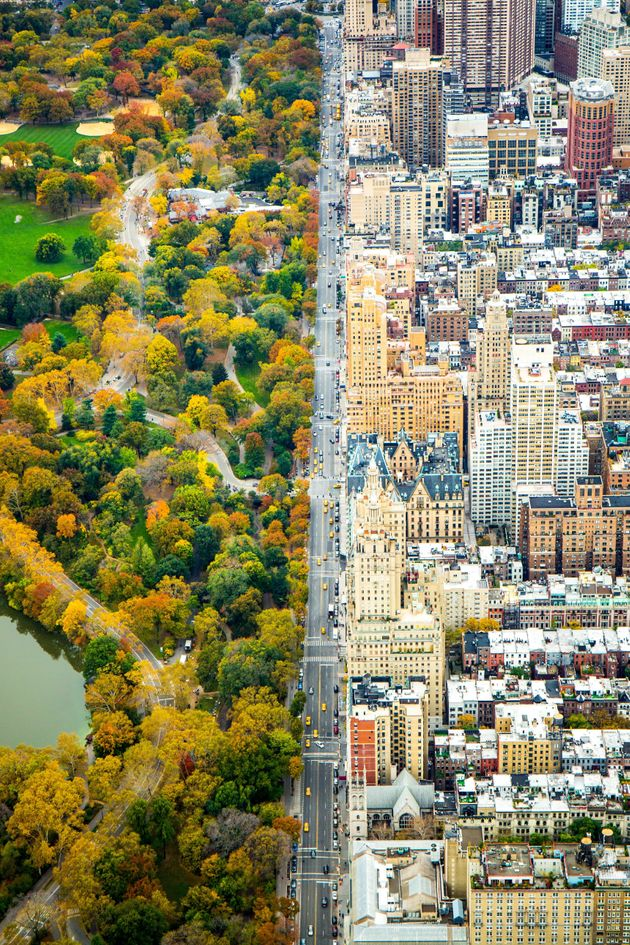 In the helicopter looking south on Central Park West - dividing the architecture and Central park, on...