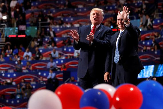 Republican U.S. presidential nominee Donald Trump and vice presidential nominee Governor Mike Pence (R)...