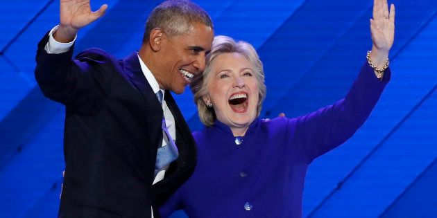 U.S. President Barack Obama and Democratic presidential nominee Hillary Clinton appear onstage together...