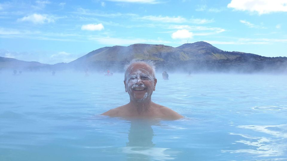 Arun Narayan Sabnis at the Blue Lagoon geothermal spa in Iceland in July