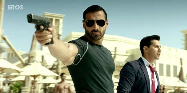 (L-R) John Abraham and Varun Dhawan in a screen-grab from the 'Dishoom'