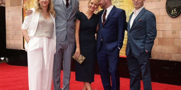 JK Rowling (centre) with writer of the show Jack Thorne (2nd left), director John Tiffany (2nd right),...