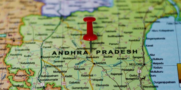 Andhra Pradesh Marked on Map with Red