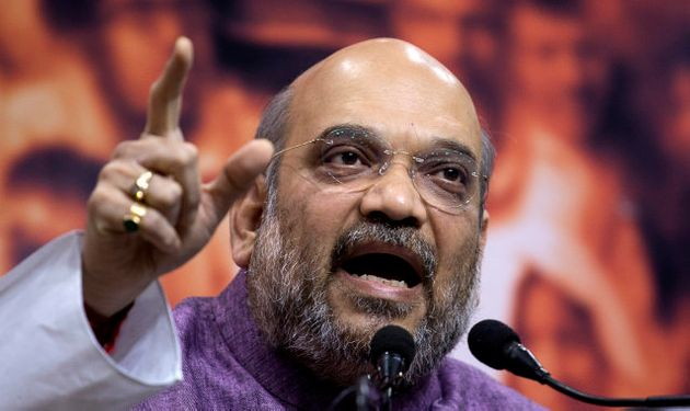 Bharatiya Janata Party or BJP president Amit Shah speaks at a press conference in New Delhi, India, Friday,...