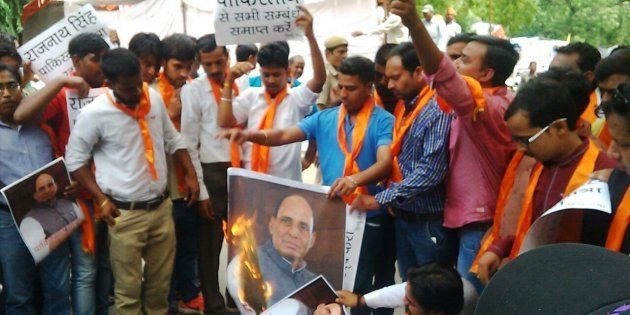 The Hindu outfit is burning the Home Minister's effigies in