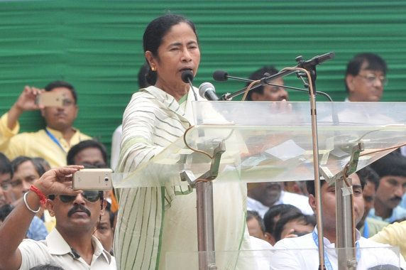 West Bengal chief minister and Trinamool Congress Party (TMC) chief, Mamata Banerjee addresses a mass...