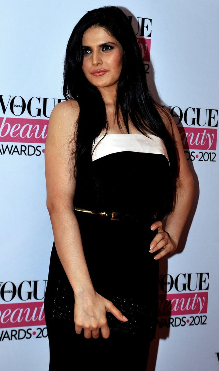 Zareen Khan poses during the 'Vogue beauty Awards 2012'  in Mumbai on August 1, 2012.