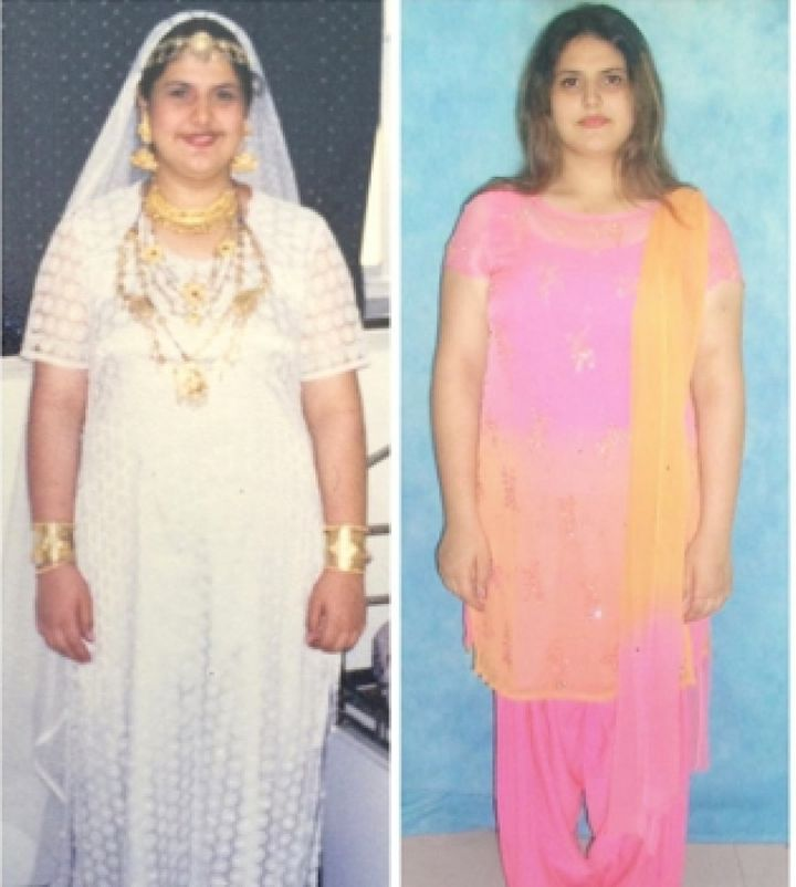 (L-R) Zareen Khan in the 9th standard; later, in the 12th grade. She weighed more than 100 kg on both occasions.