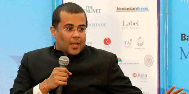 Indian writer Chetan Bhagat speaks at the annual Literature Festival in