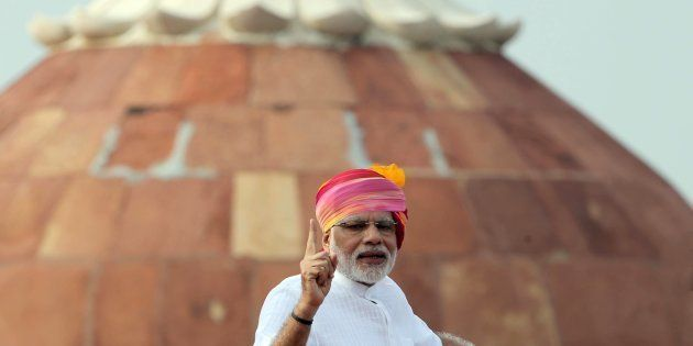 Indian Prime Minister Narendra Modi delivers a speech during an Independence Day celebration at The Red...