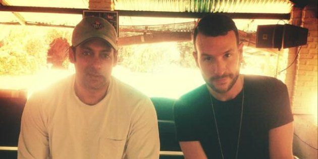 (L-R) Bollywood star Salman Khan and Dutch DJ-producer Don Diablo at the former's farmhouse in