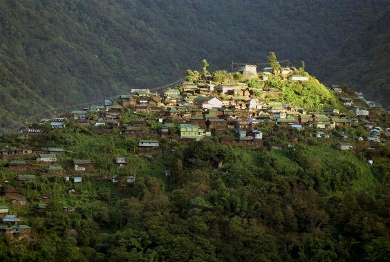 View of the hilltop town Khonoma as seen from Mezoma