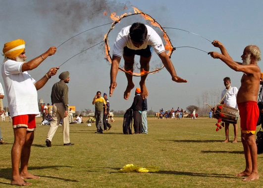 A participant performs during sports