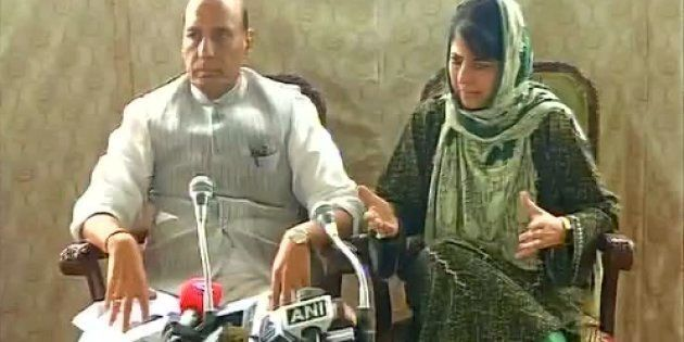 Home Minister Rajnath Singh and Jammu and Kashmir Chief Minister Mehbooba Mufti in