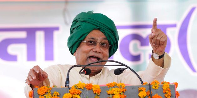 Chief Minister of Bihar Nitish Kumar addresses a rally in which he lambasted on the central and state...