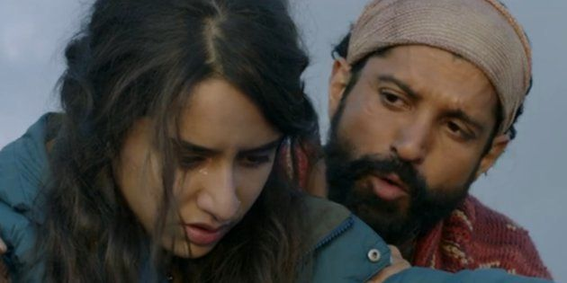 (L-R) Shraddha Kapoor and Farhan Akhtar in a screen-grab from the 'Rock On 2'
