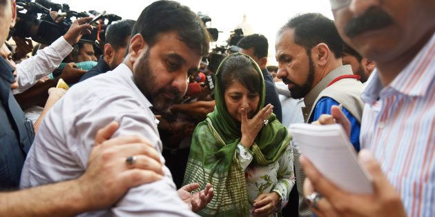 Jammu and Kashmir Chief Minister Mehbooba Mufti leaves after attending the high level meeting with Union...