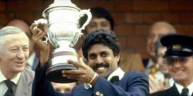 Indian cricket captain and bowling legend Kapil Dev lifting the World Cup at Lord's, London, in
