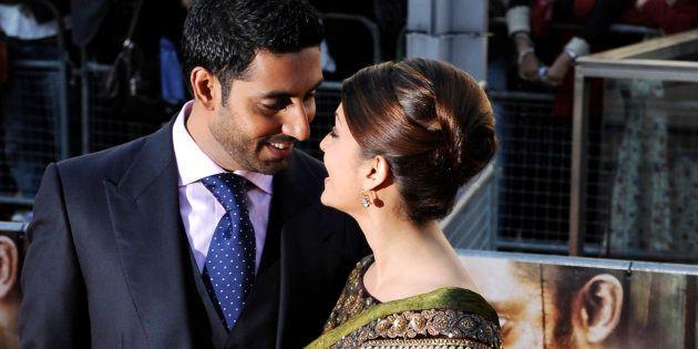 Married Bollywood couple Abhishek Bachchan (L) and Aishwayra Rai Bachchan arrive for the world premiere...