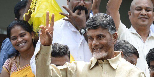 Telugu Desam Party Chief Chandrababu Naidu in Hyderabad, 2014. (Photo by Mohd Zakir/Hindustan Times via...