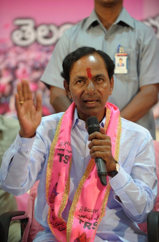 Indian Telangana Rashtra Samithi (TRS) party president K Chandrasekhar Rao addresses a press conference...