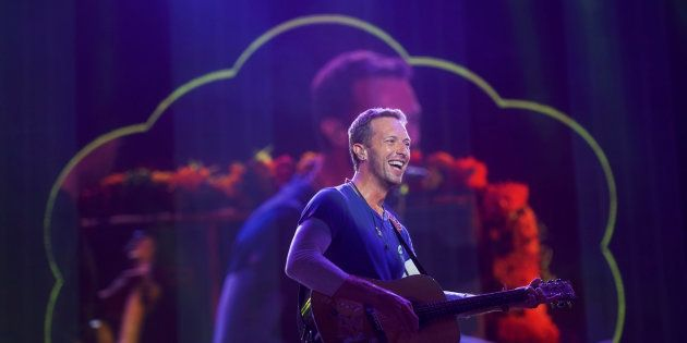 Chris Martin of Coldplay performs during the fifth annual Made in America Music Festival in