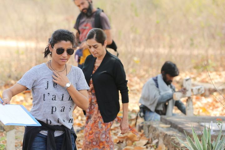Konkona Sensharma on the sets of her directorial debut, 'A Death in the Gunj.'