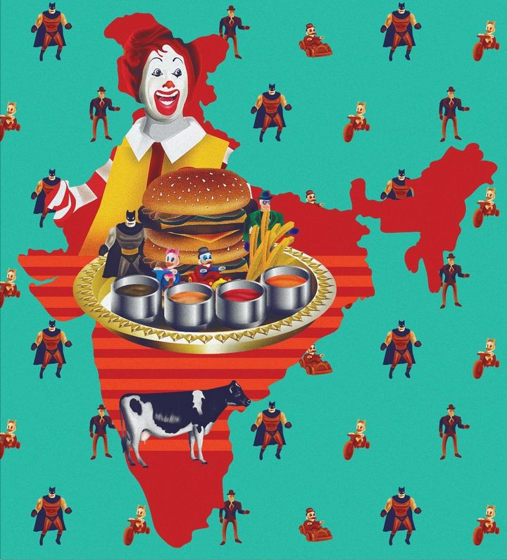 """1996: """"The clown opens up a joint. In 1996, McDonald's opened its shop in India."""""""