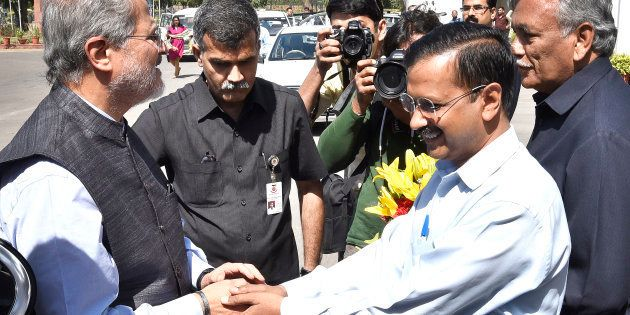 Chief Minister Arvind Kejriwal and Delhi Vidhan Sabha Speaker Ram Niwas Goyal welcome the Lieutenant...