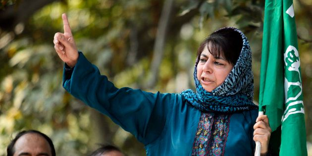 Mehbooba Mufti, president of People's Democratic Party (PDP), speaks after police stopped her protest...