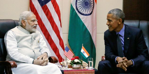 U.S. President Barack Obama holds a bilateral meeting with India's Prime Minister Narendra Modi alongside...