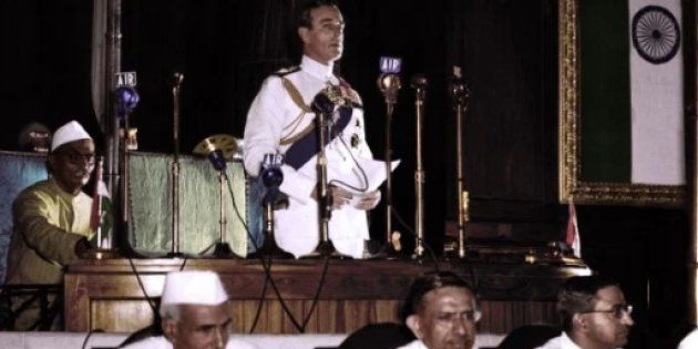 Lord Mountbatten addressing the Indian Parliament--Imagined in coloured
