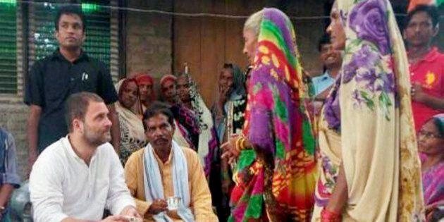 Congress Vice President Rahul Gandhi during door-to-door interactions in Faizabad on