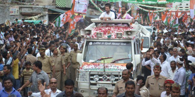 Congress Vice President Rahul Gandhi during his road show in Jaunpur on