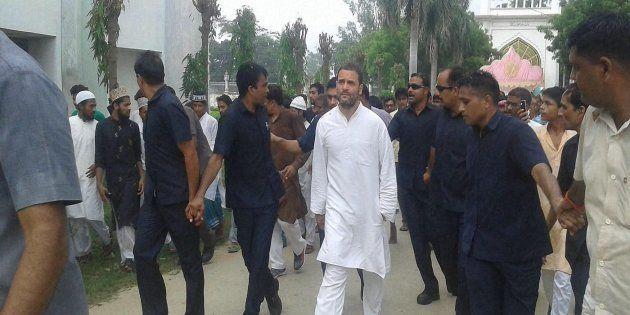 Congress Vice President Rahul Gandhi at a road show during his Kisan Yatra at Mubarakpur in Azamgarh...