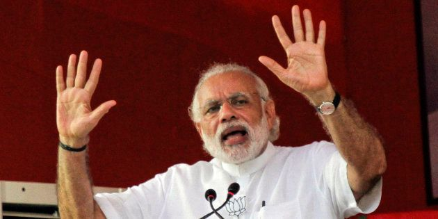 In this April 17, 2016, file photo, Indian Prime Minister Narendra Modi, speaks at an election rally...