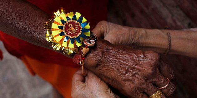Jamuna Devi, 85, a widow ties a