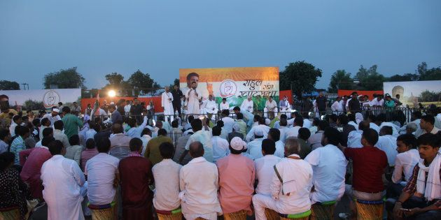 Congress vice president and leader Rahul Gandhi addresses a public