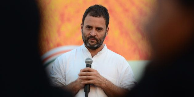 Rahul Gandhi addresses a public meeting, popularly known as Khaat Panchayats, in Tenwa village, in