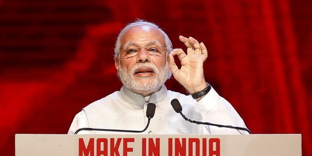 India's Prime Minister Narendra Modi speaks during the inauguration ceremony of the 'Make In India' week...