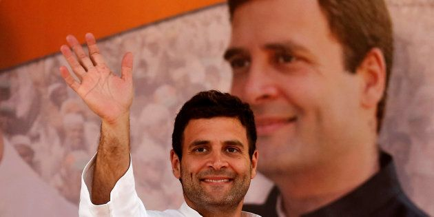 Rahul Gandhi, Vice President of the Congress, waves to supporters during a rally in 2014. REUTERS/Anindito...