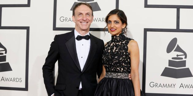 Film composer Mychael Danna and his wife Aparna Bhargava arrive at the 56th annual Grammy Awards in Los...