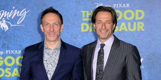 Composers Mychael Danna and Jeff Danna attend the Premiere of Disney-Pixar's 'The Good Dinosaur' at the...