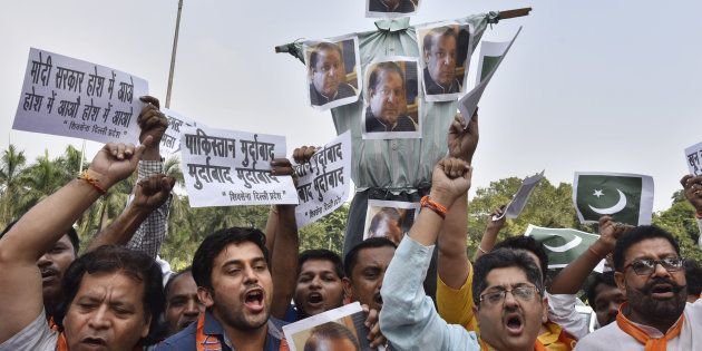 Members of Shiv Sena protest against the killing of 17 Indian Soldiers by terrorists and demanding action...