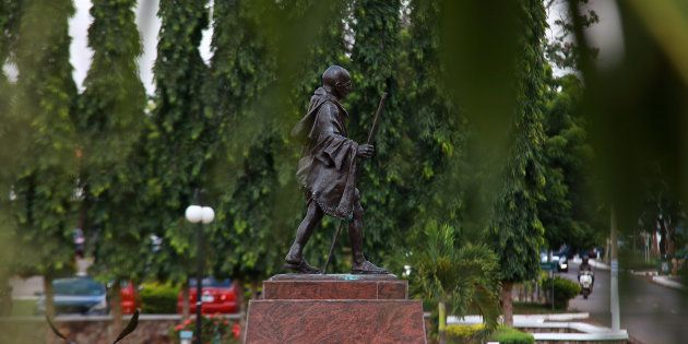A statue of Indian independence leader Mahatma Gandhi at an university campus in Accra, Ghana, Thursday,...