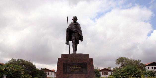 A statue of Mahatma Gandhi in Accra, Ghana, Thursday, Sept. 22,