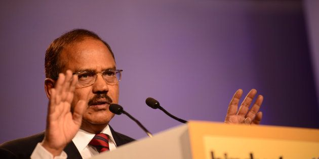 Ajit Doval is an Indian intelligence officer speaking at HT Leadership Summit on November 22, 2014 in...