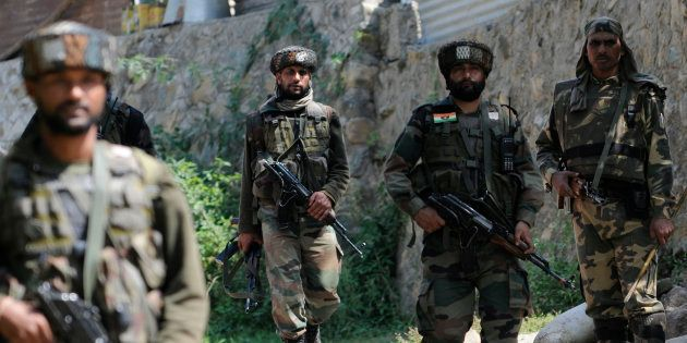 Army soldiers at the encounter site at Aragam village of Bandipora district on September 22, 2016 some...