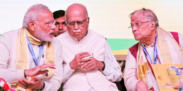 Prime Minister Narendra Modi with senior BJP leaders LK Advani, Murali Manohar Joshi and others during...