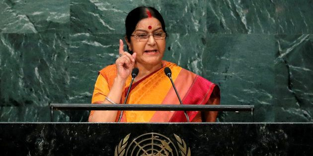 India's Minister of External Affairs Sushma Swaraj addresses the United Nations General Assembly in the...